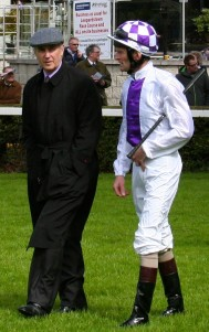 Jim Bolger and Kevin Manning in discussion in the ring at Leopardstown