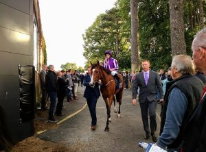 Ryan Moore on Minding on the way out for the Irish Champion Stakes